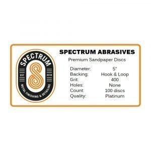 "Spectrum Abrasives 5"" Hook & Loop Sandpaper Discs (400 Grit) - 100 discs per box"